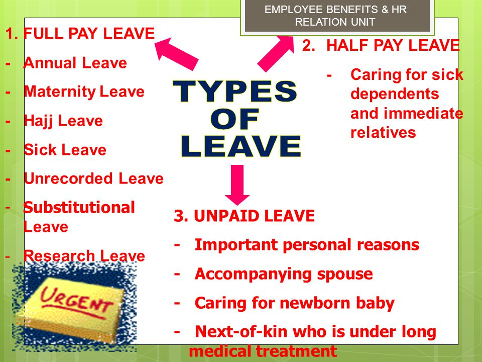TYPES OF LEAVE FULL PAY LEAVE - Annual Leave HALF PAY LEAVE