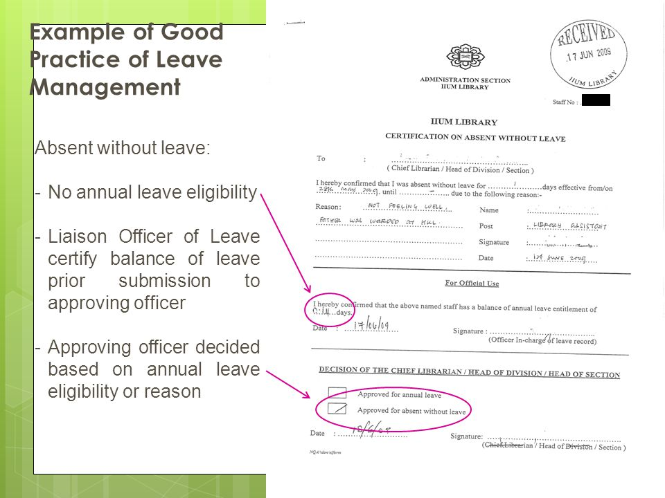 Example of Good Practice of Leave Management
