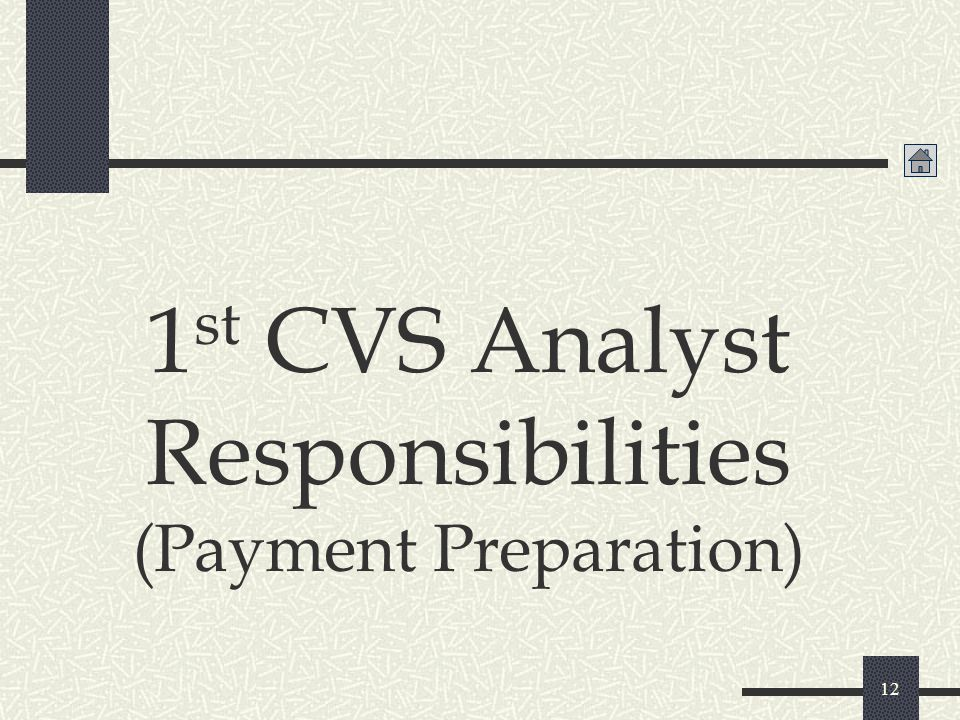 1st CVS Analyst Responsibilities (Payment Preparation)