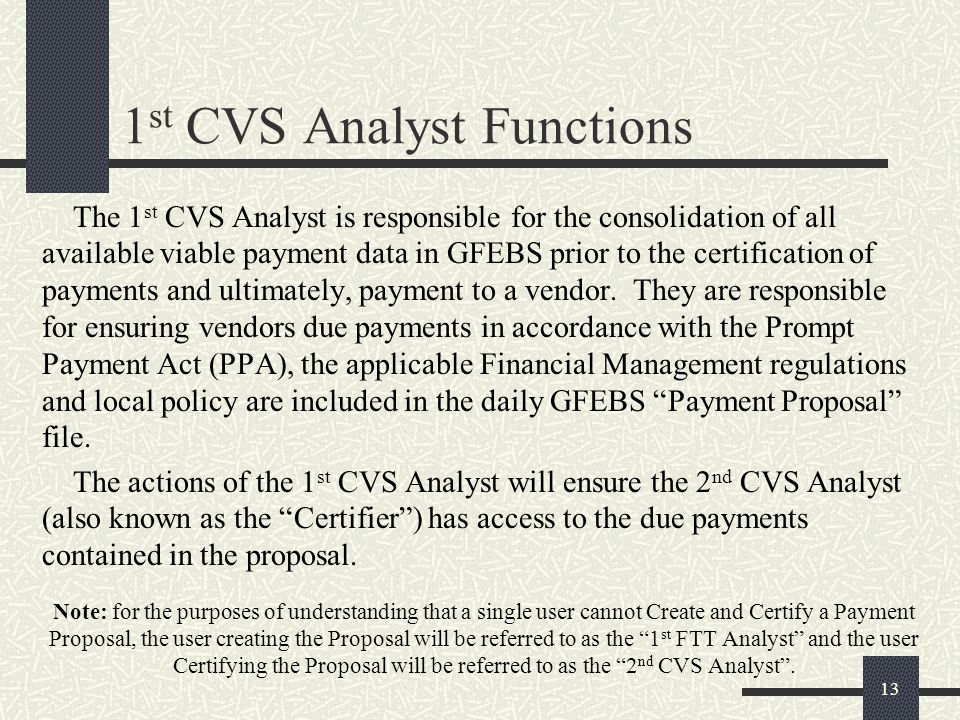 1st CVS Analyst Functions