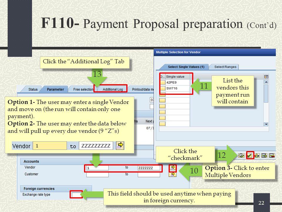 F110- Payment Proposal preparation (Cont'd)