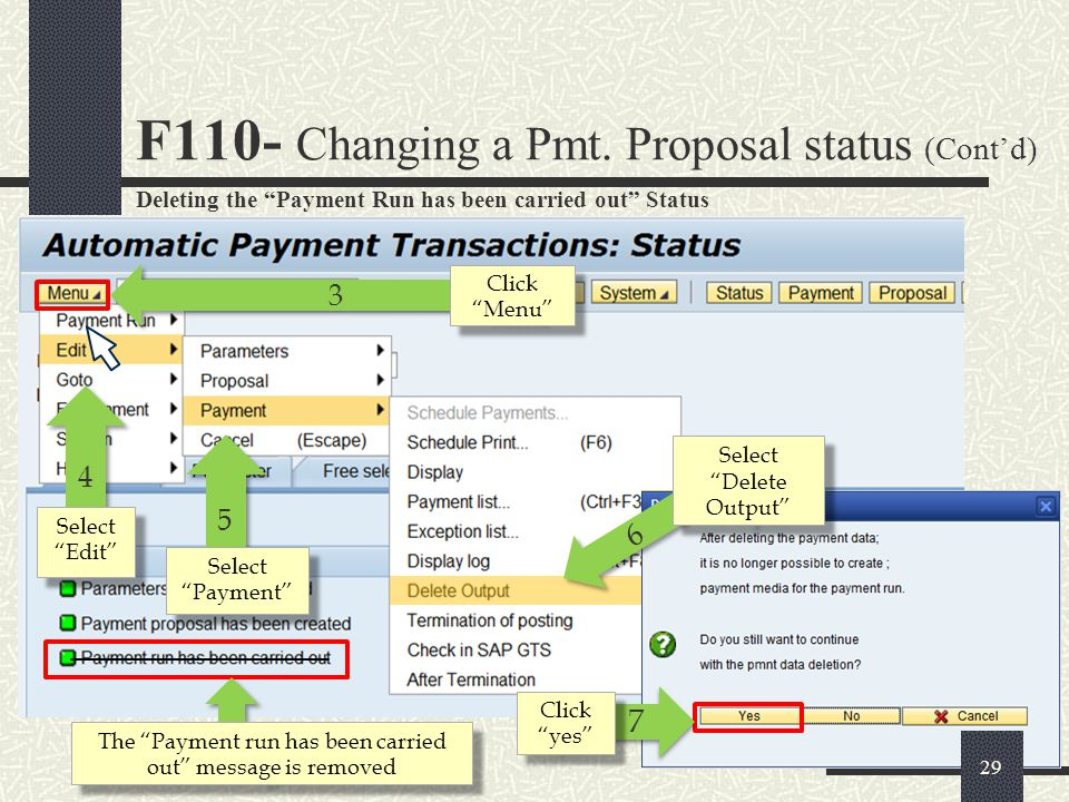 F110- Changing a Pmt. Proposal status (Cont'd)