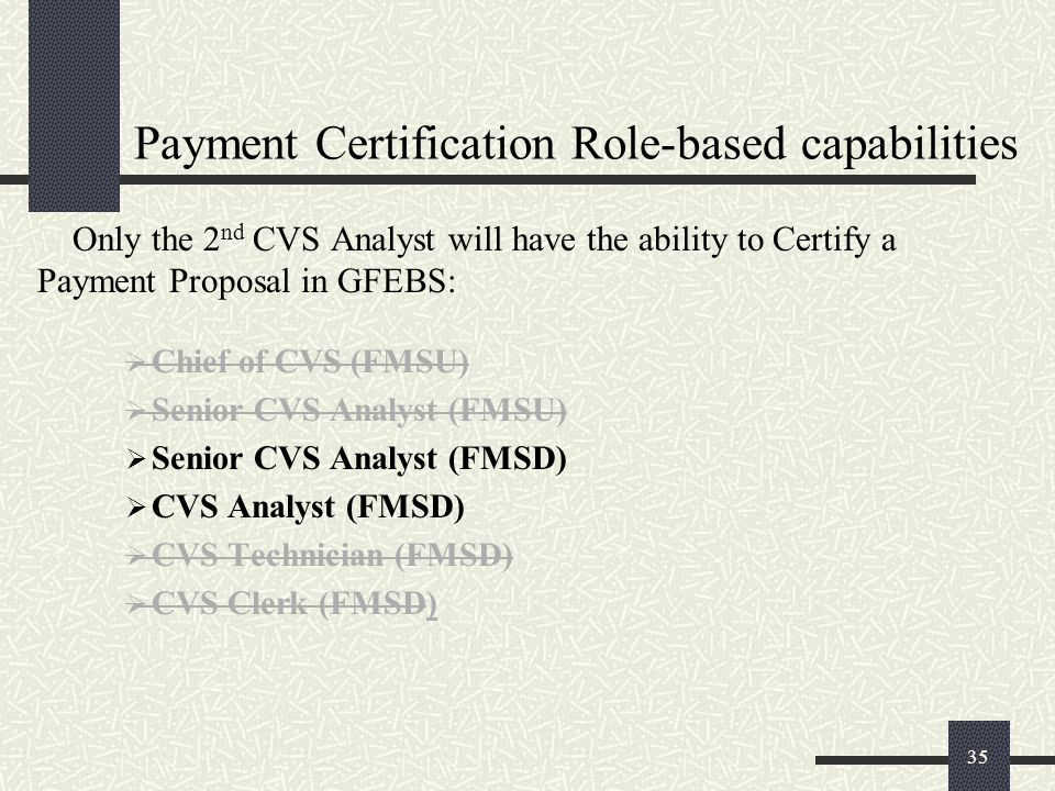 Payment Certification Role-based capabilities