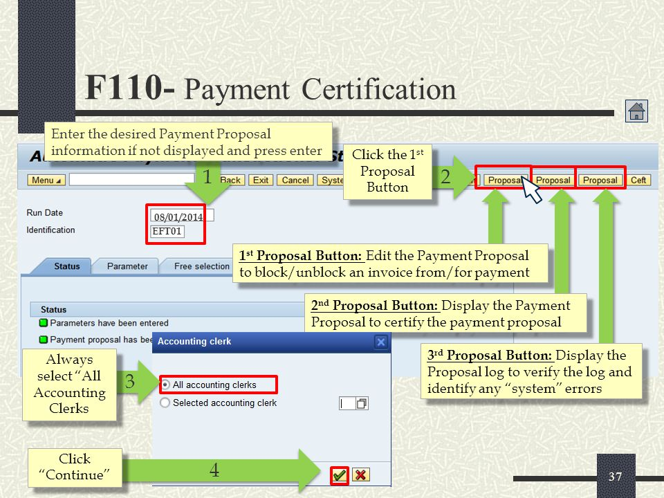 F110- Payment Certification