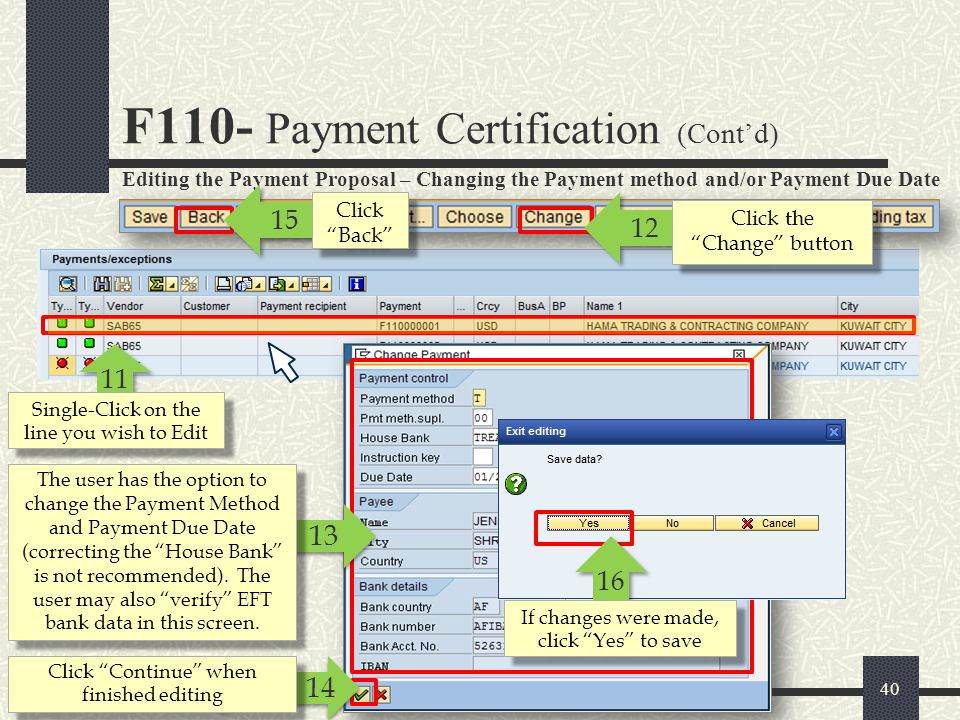 F110- Payment Certification (Cont'd)