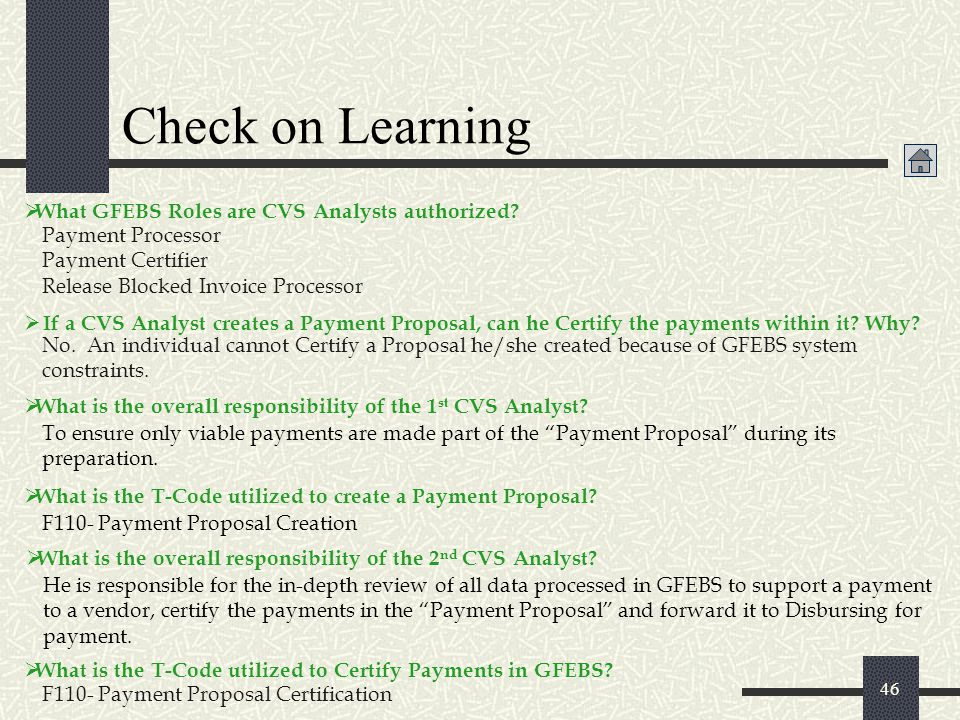 Check on Learning What GFEBS Roles are CVS Analysts authorized