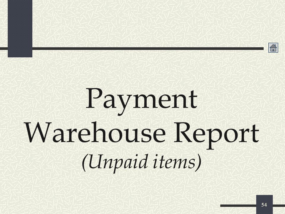 Payment Warehouse Report