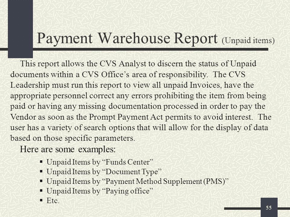 Payment Warehouse Report (Unpaid items)