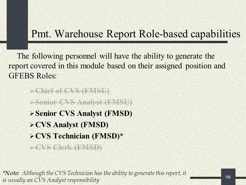 Pmt. Warehouse Report Role-based capabilities