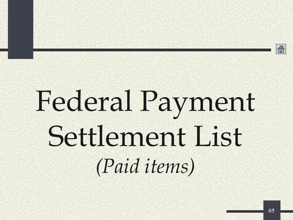 Federal Payment Settlement List