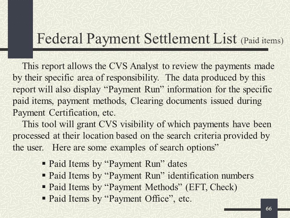 Federal Payment Settlement List (Paid items)