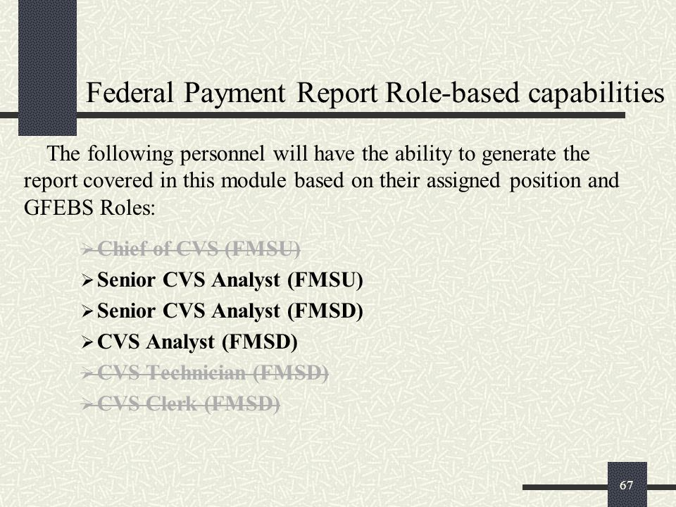 Federal Payment Report Role-based capabilities
