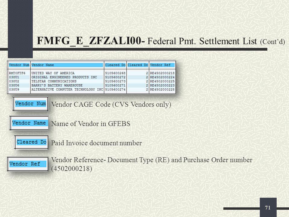 FMFG_E_ZFZALI00- Federal Pmt. Settlement List (Cont'd)