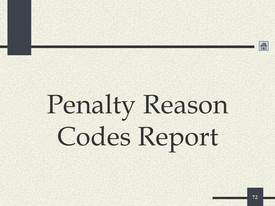 Penalty Reason Codes Report