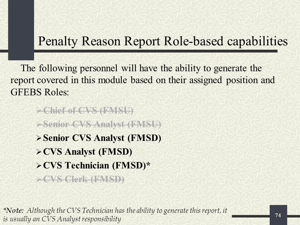 Penalty Reason Report Role-based capabilities