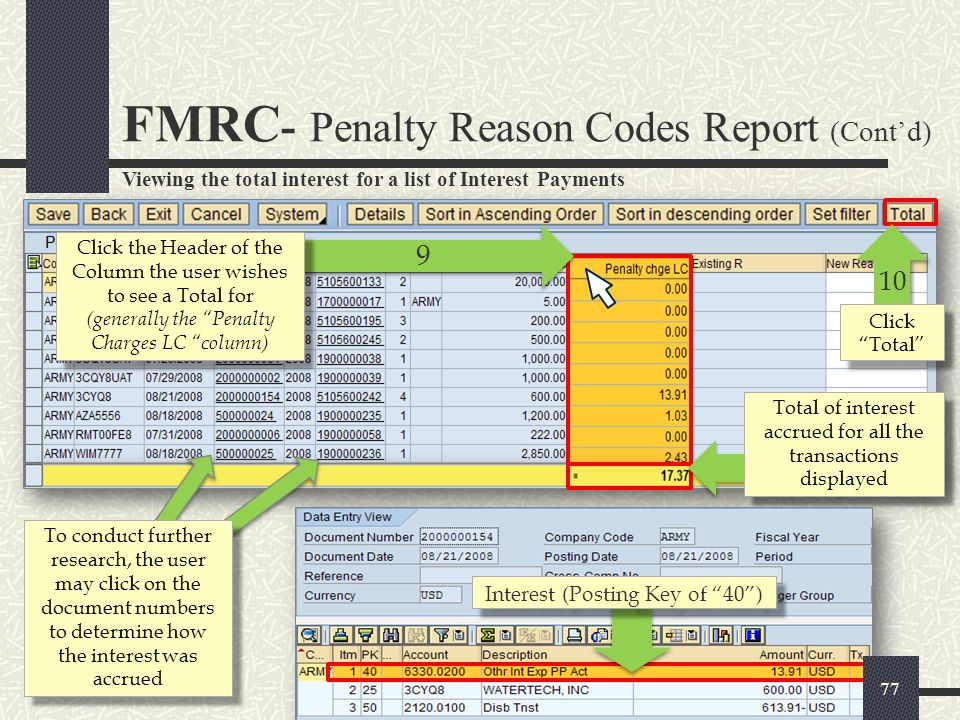 FMRC- Penalty Reason Codes Report (Cont'd)