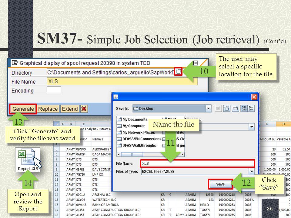 SM37- Simple Job Selection (Job retrieval) (Cont'd)