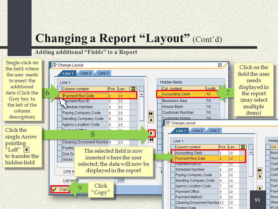 Changing a Report Layout (Cont'd)