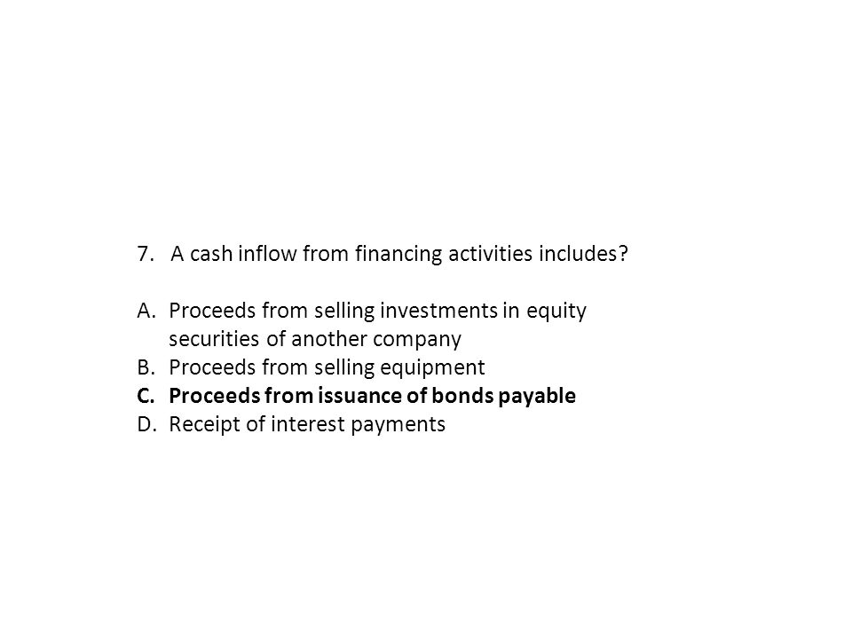 7. A cash inflow from financing activities includes