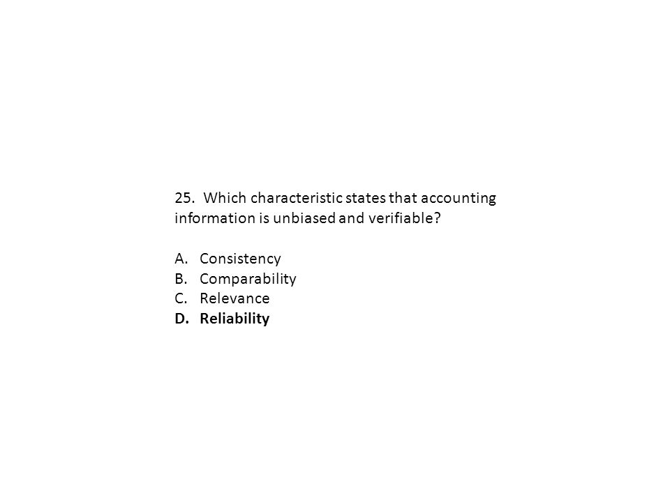 25. Which characteristic states that accounting information is unbiased and verifiable