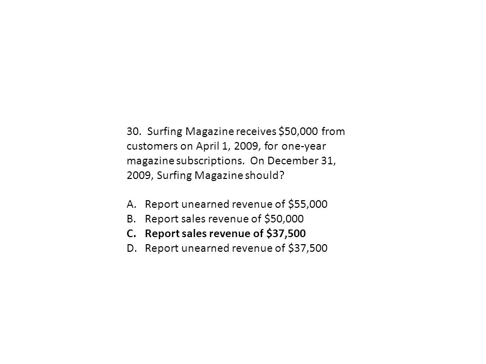 30. Surfing Magazine receives $50,000 from customers on April 1, 2009, for one-year magazine subscriptions. On December 31, 2009, Surfing Magazine should