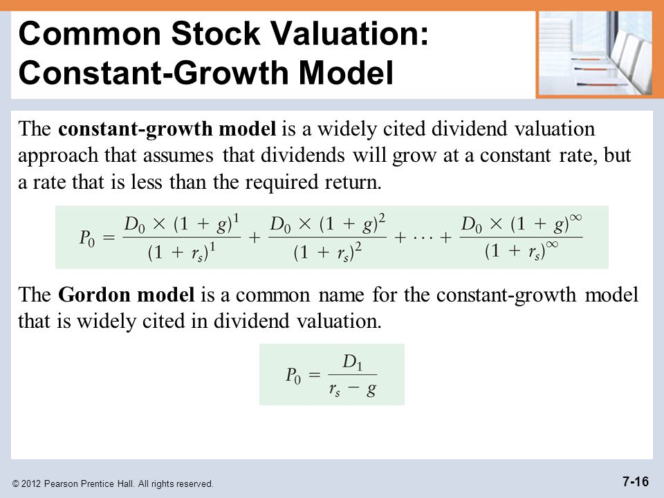 Common Stock Valuation: Constant-Growth Model