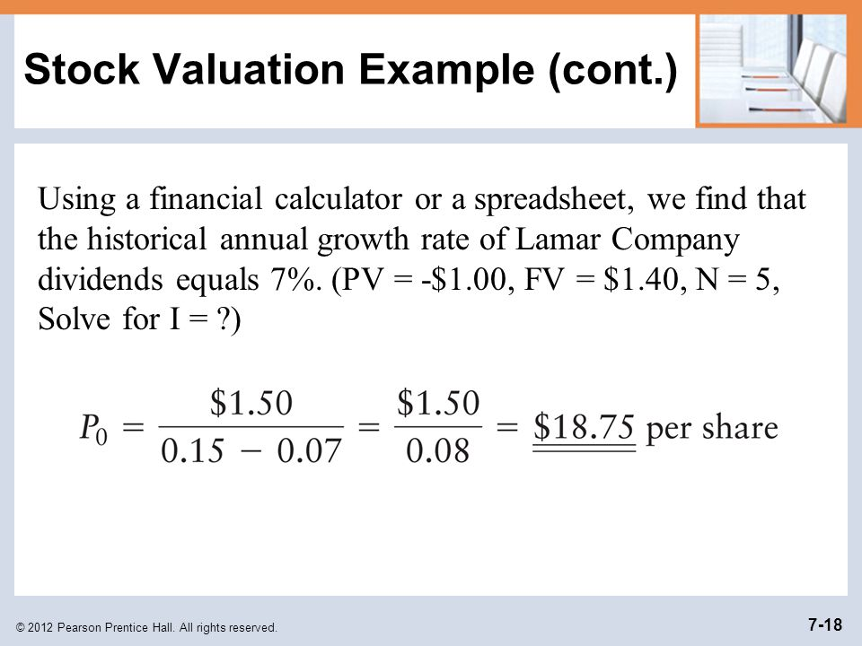 Stock Valuation Example (cont.)