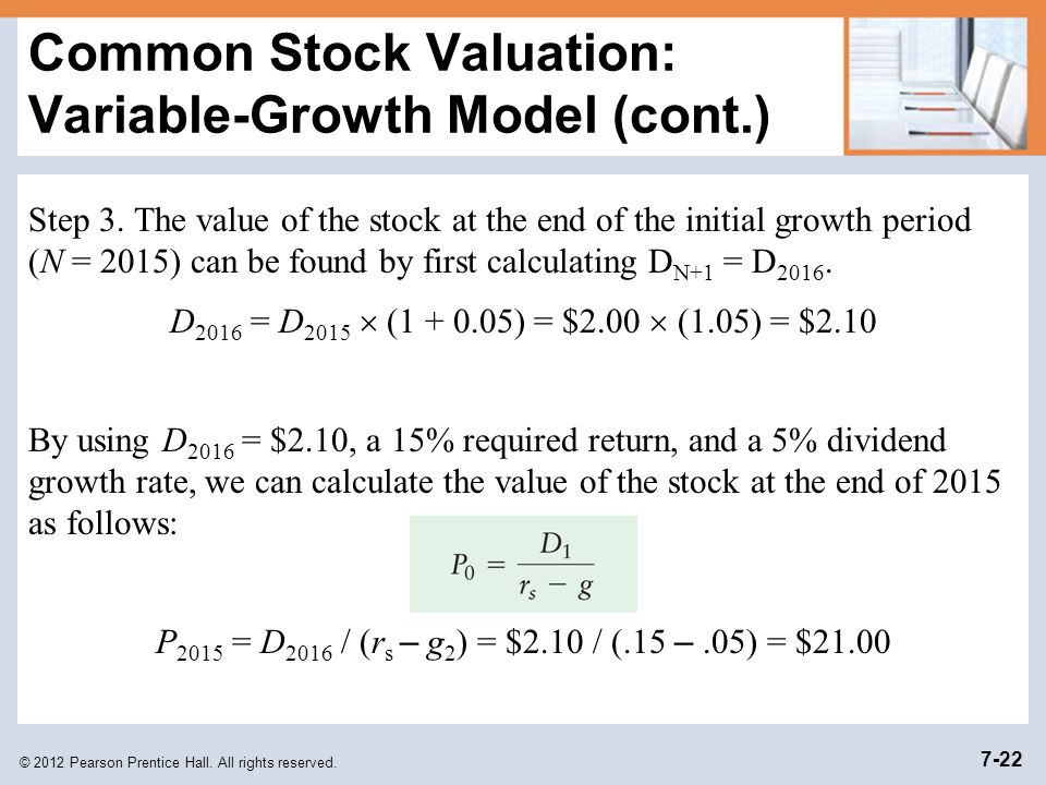 Common Stock Valuation: Variable-Growth Model (cont.)