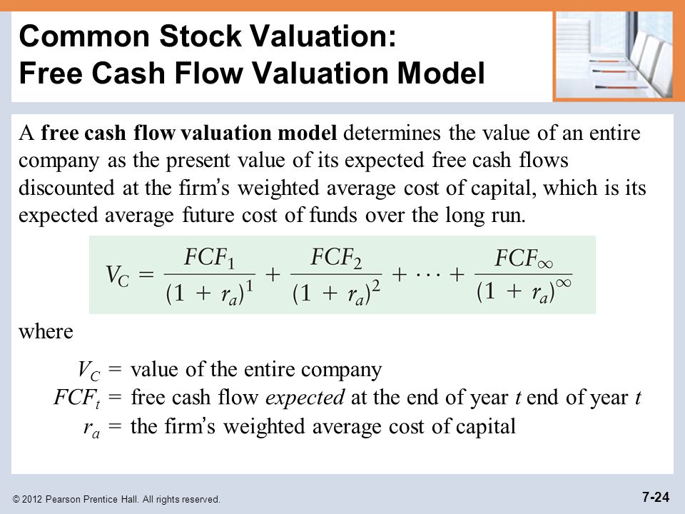 Common Stock Valuation: Free Cash Flow Valuation Model