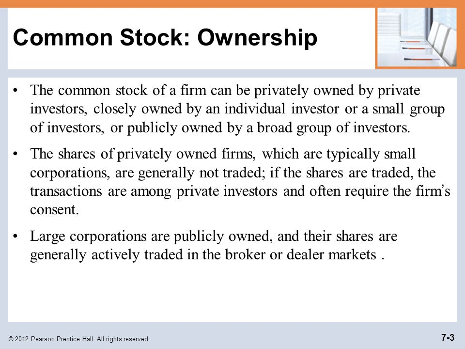 Common Stock: Ownership