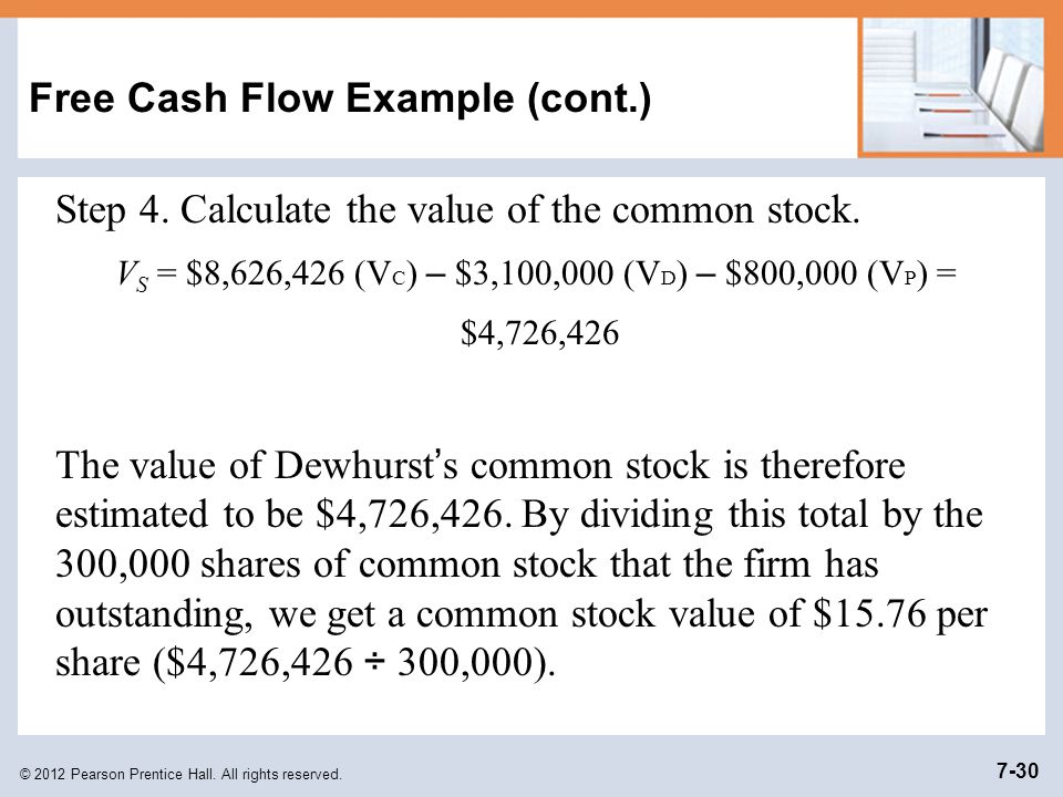 Free Cash Flow Example (cont.)
