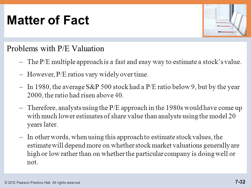 Matter of Fact Problems with P/E Valuation