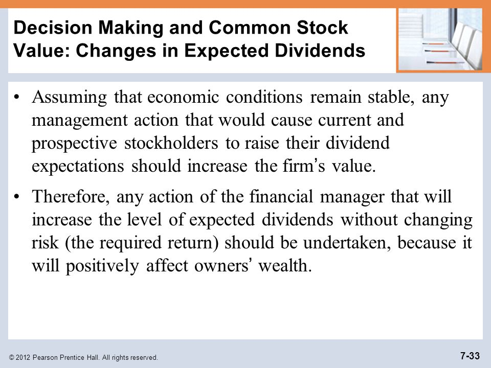 Decision Making and Common Stock Value: Changes in Expected Dividends