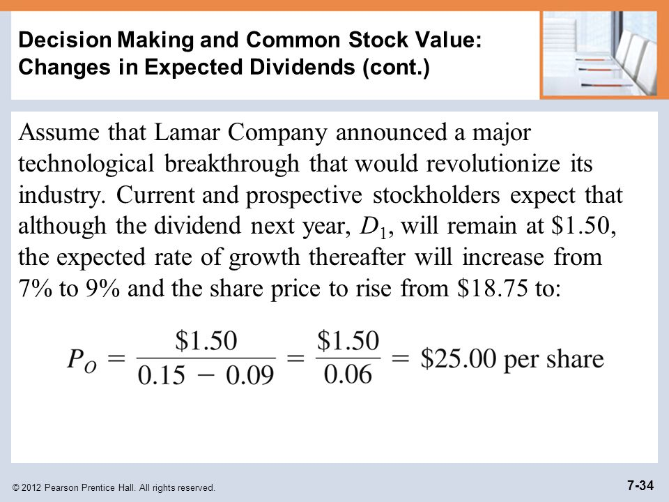 Decision Making and Common Stock Value: Changes in Expected Dividends (cont.)