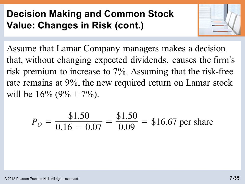 Decision Making and Common Stock Value: Changes in Risk (cont.)