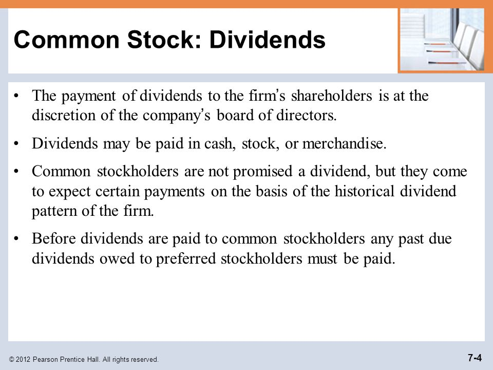 Common Stock: Dividends