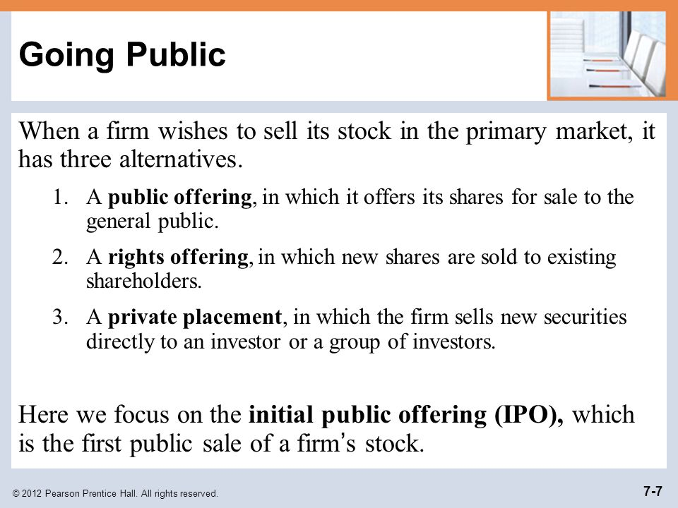 Going Public When a firm wishes to sell its stock in the primary market, it has three alternatives.