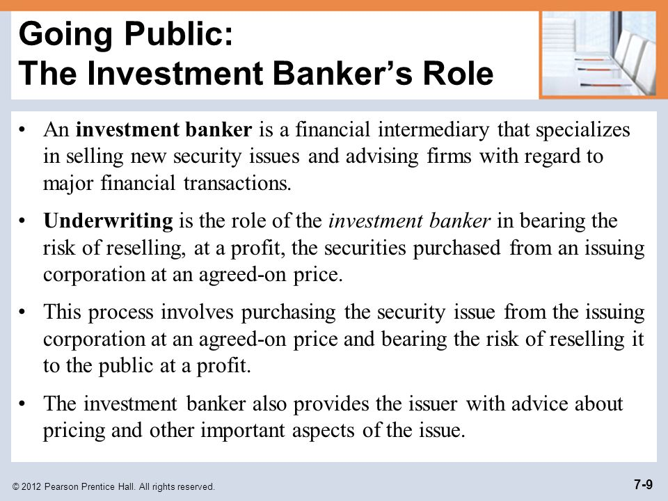 Going Public: The Investment Banker's Role