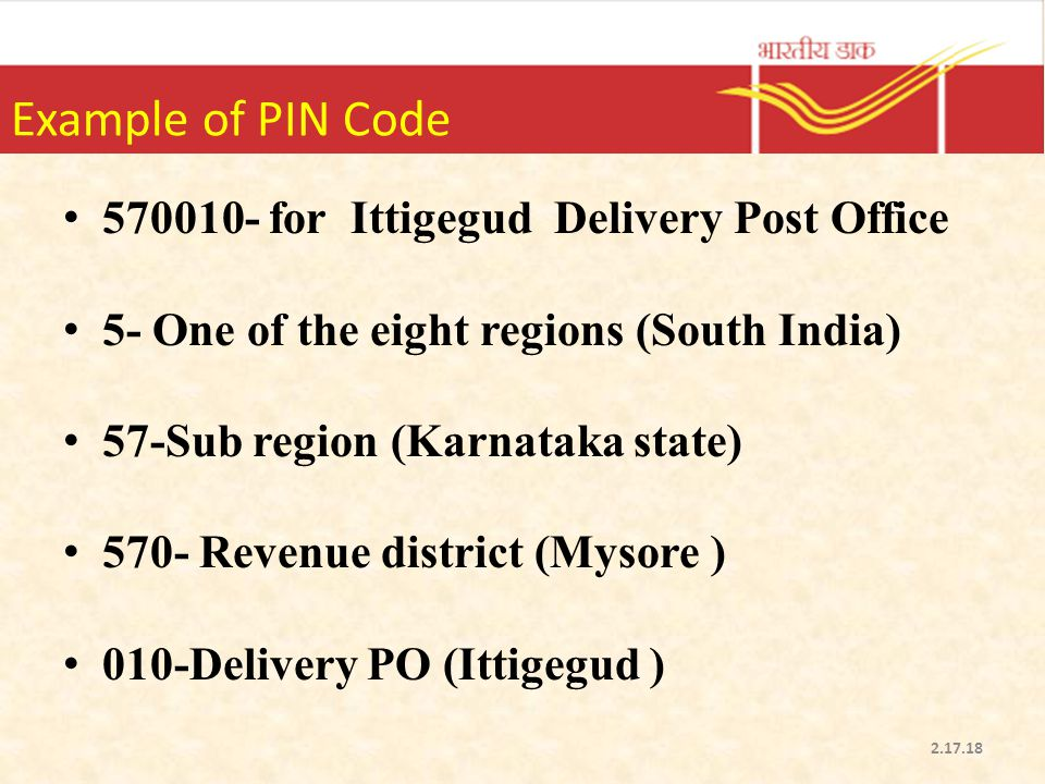 Example of PIN Code 570010- for Ittigegud Delivery Post Office
