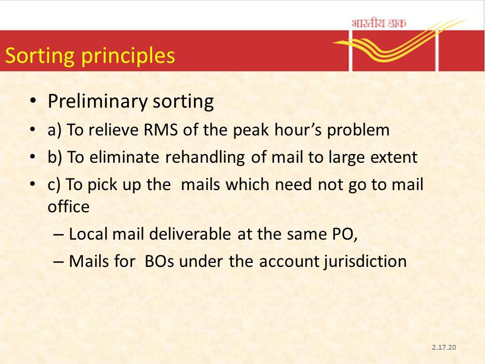 Sorting principles Preliminary sorting