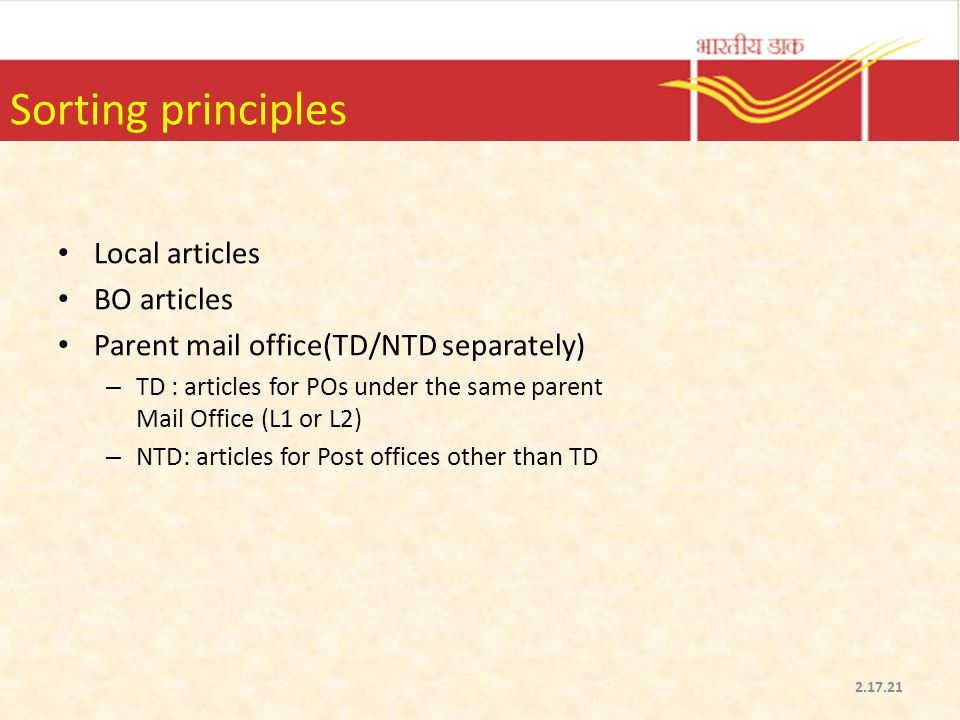 Sorting principles Local articles BO articles