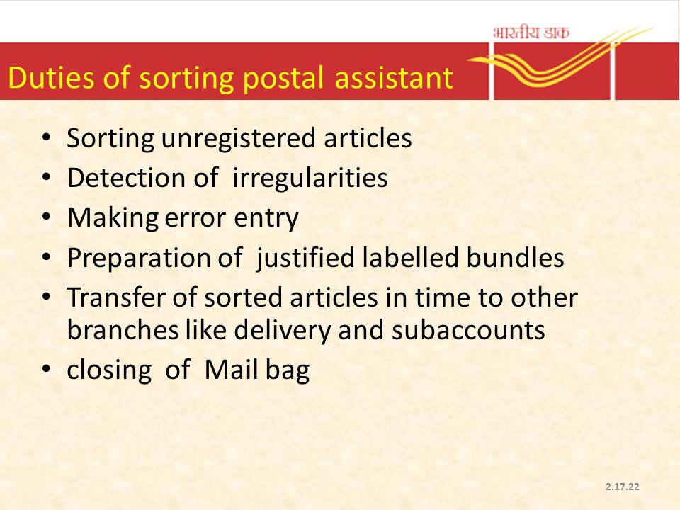 Duties of sorting postal assistant