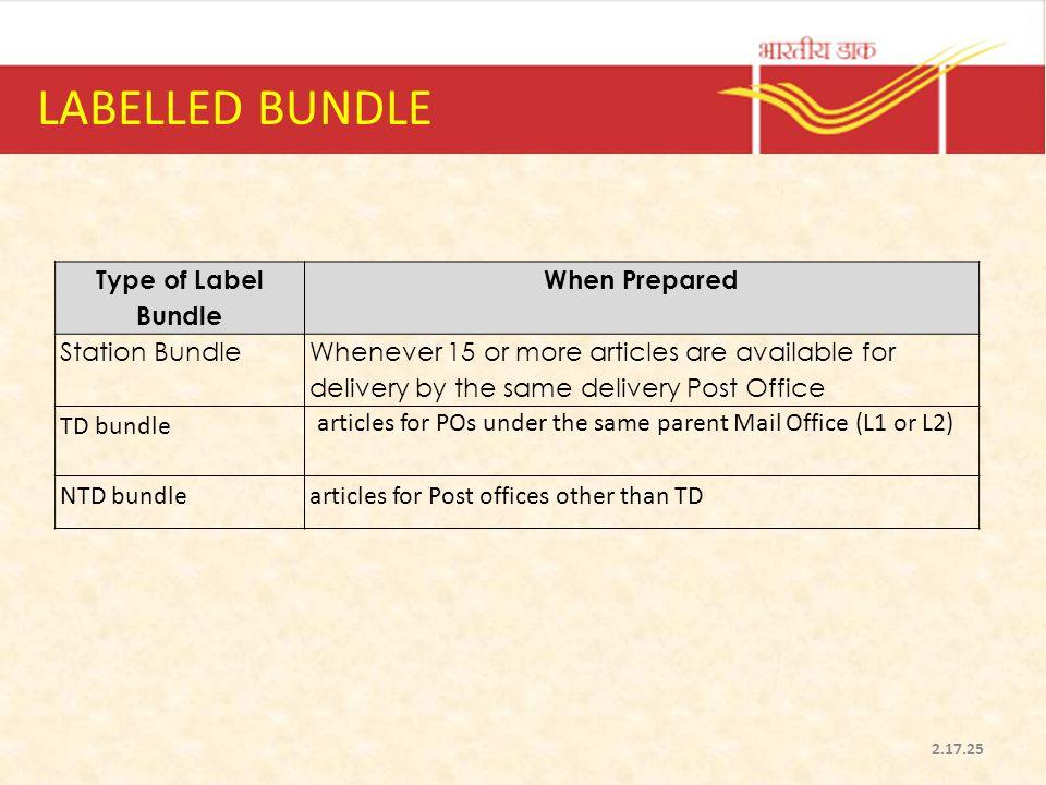 LABELLED BUNDLE Type of Label Bundle When Prepared Station Bundle