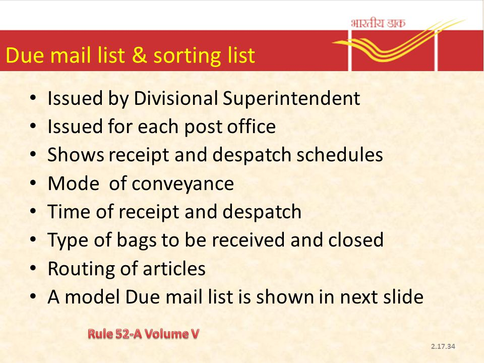 Due mail list & sorting list