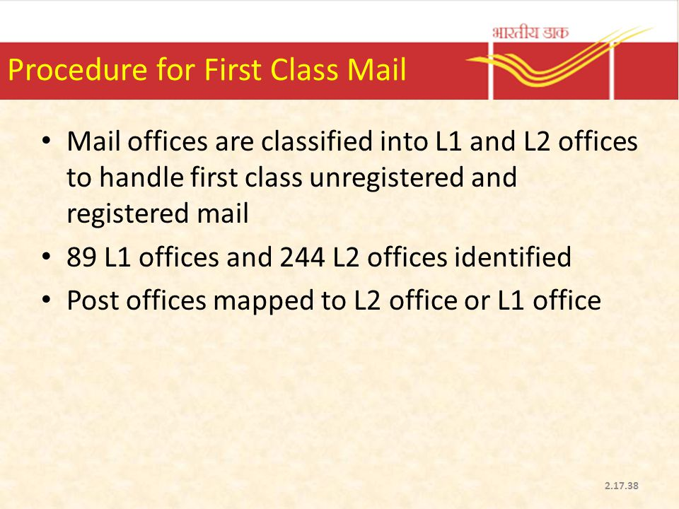 Procedure for First Class Mail
