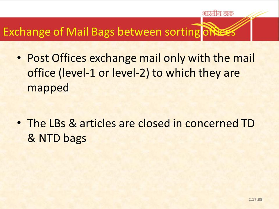 Exchange of Mail Bags between sorting offices