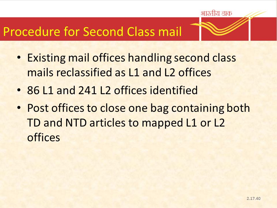 Procedure for Second Class mail
