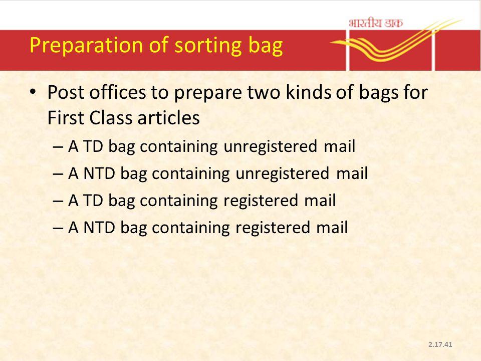 Preparation of sorting bag