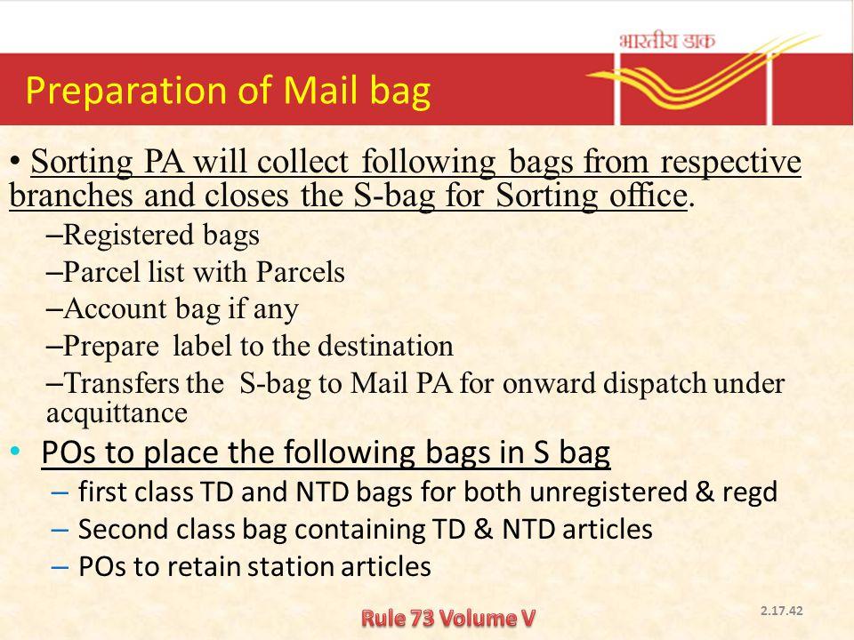 Preparation of Mail bag
