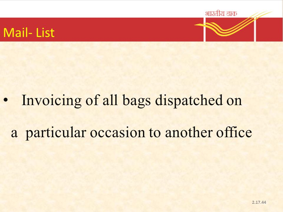 Invoicing of all bags dispatched on
